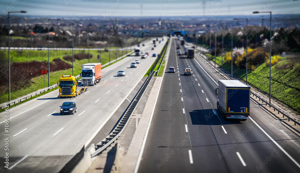 Fototapety, obrazy: Highway transportation with cars and truck