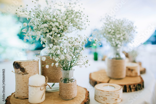 Photo  Hand Made Wedding Decoration, flowers, wood