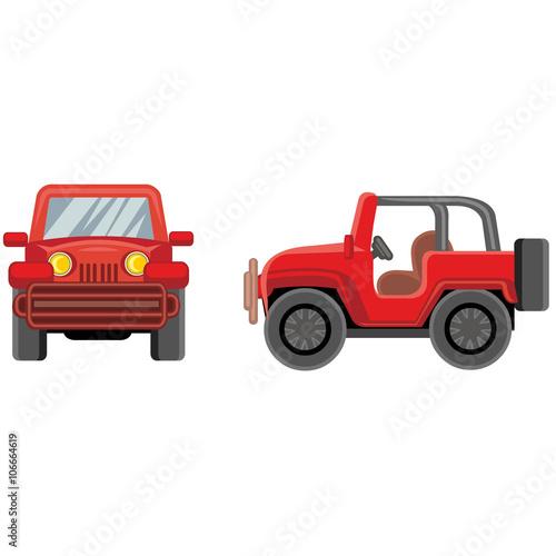 Staande foto Cartoon cars cartoon jeep