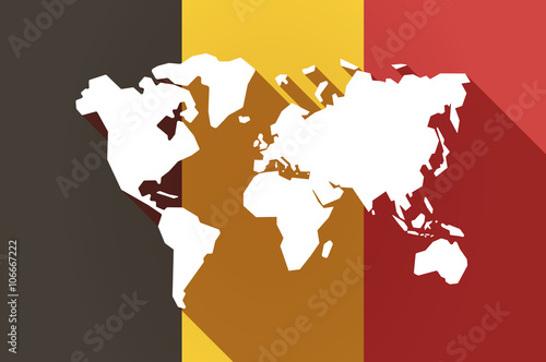 Long shadow Belgium flag with a world map