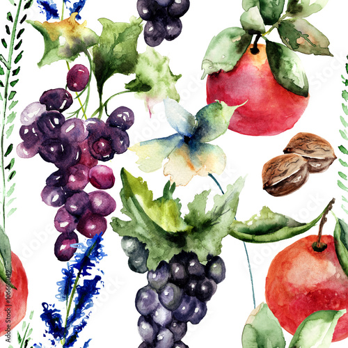 akwarela-ilustracja-z-owocow-i-kwiatow