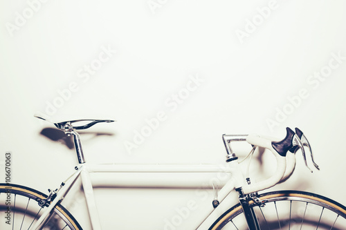 Aluminium Prints Bicycle White vintage bicycle on white background