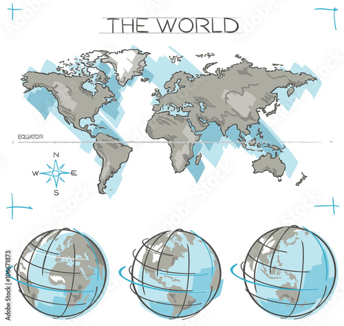 Hand drawn vector concept of Planet Earth Globes and flat ...