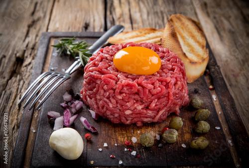Close up of beef tartar.