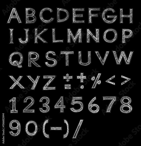 Font pencil sketch stroke on Black - Buy this stock illustration and