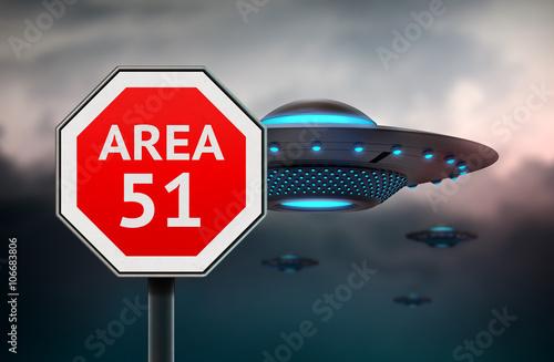 Fototapeta Znak obszaru 51. UFO leci sausers w tle