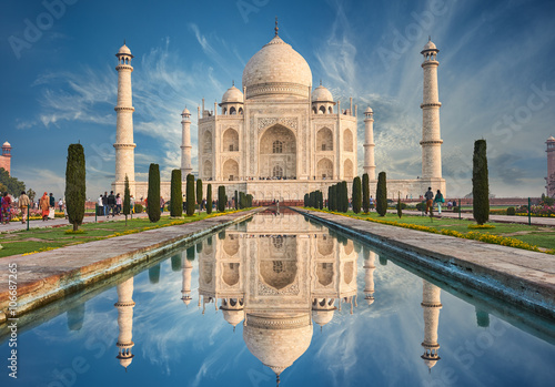 Poster India Taj Mahal India, Agra. 7 world wonders. Beautiful Tajmahal trave