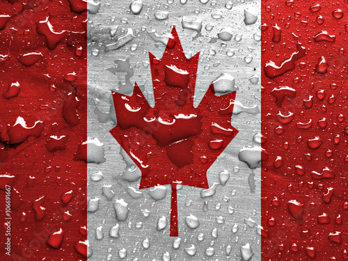 Spoed Foto op Canvas Canada flag of Canada with rain drops