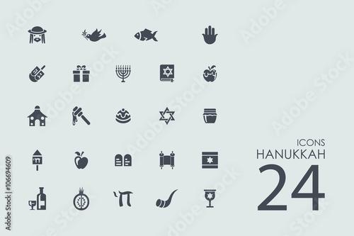 Fototapeta Set of Hanukkah icons obraz