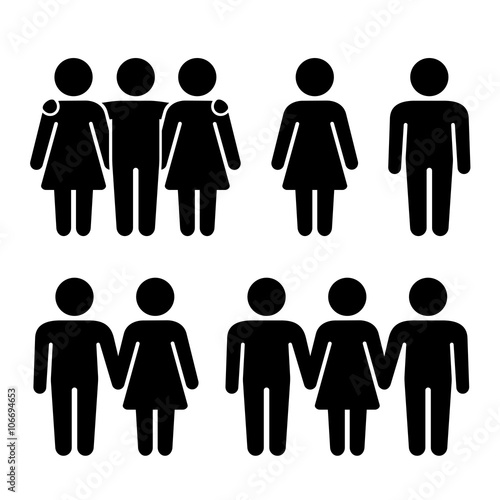 Foto  Alone, Couple and Threesome Human Icons Set