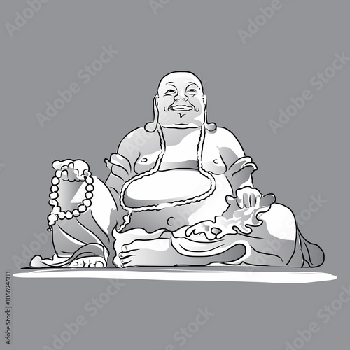 Foto  Maitreya Buddha Grey Shaded Vector Drawing