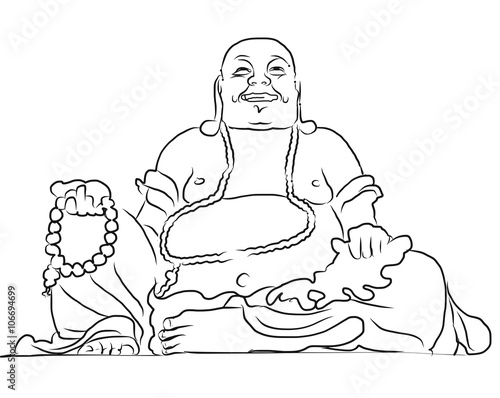 Maitreya Buddha Outline Vector Drawing Canvas