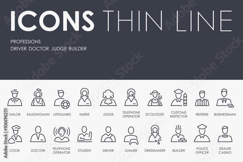 Fotografía  Professions Thin Line Icons