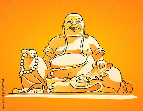 Maitreya Buddha Orange Shaded Vector Drawing Poster