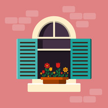 Outside House Window With Shutters