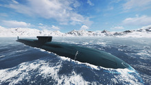 Surfaced Russian Nuclear Submarine At Northern Waters. Close Up. Realistic 3D Illustration Was Done From My Own 3D Rendering File.