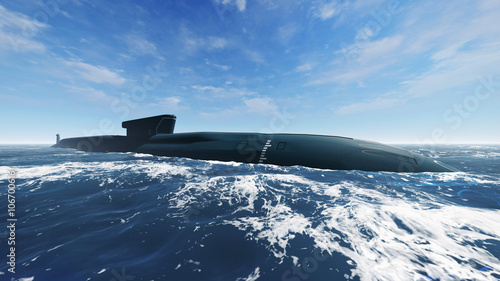 фотография  Side view of surfaced russian ballistic missile submarine at open sea