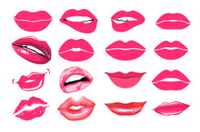 Collage, Pink Lips.  Vector Illustration. Lips Set. Design Element. Woman's Lip Gestures Set. Girl Mouths Close Up With Red Lipstick Makeup Expressing Different Emotions. EPS10 Vector.