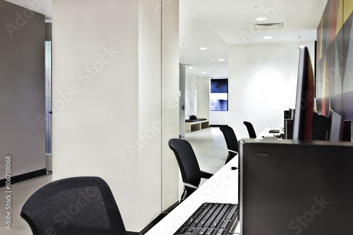 Modern computer lab or office with white walls - Buy this ...