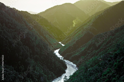 Fototapeta Landscape with mountains covered by forest obraz