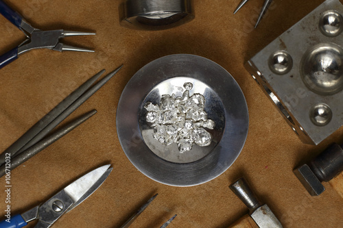 obraz PCV Tools of jewellery. Jewelry workplace on leather background. Top view
