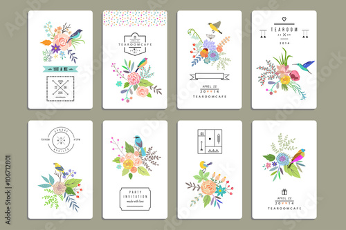 Obraz Hand Drawn vintage floral elements. Set of 8 cards with flowers - fototapety do salonu