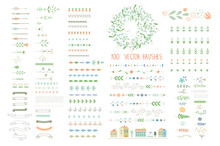 Floral Decor Set. 100 Different Vector Brushes And Decor Element