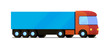 Vector isolated red truck with blue cargo trailer flat