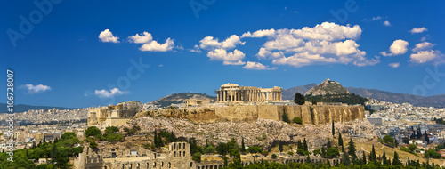 In de dag Athene Greece. Athens. Cityscape with the Acropolis of Athens (seen from Philopappos Hill)