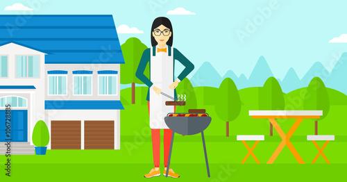 Fotobehang Indiërs Woman preparing barbecue.