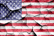 canvas print picture - Grunge America flag with some cracks and vintage look