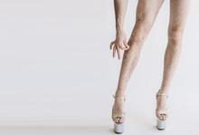 Hairy Legs In High Heels In Pi...