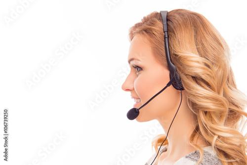 Fényképezés Side view portrait of beautiful agent of call center