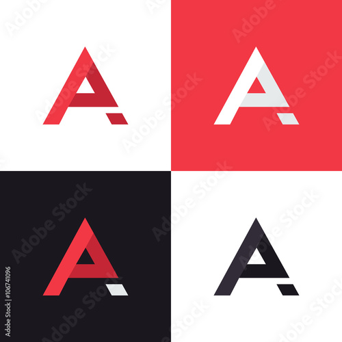 A letter logo design template in different colors  Graphic