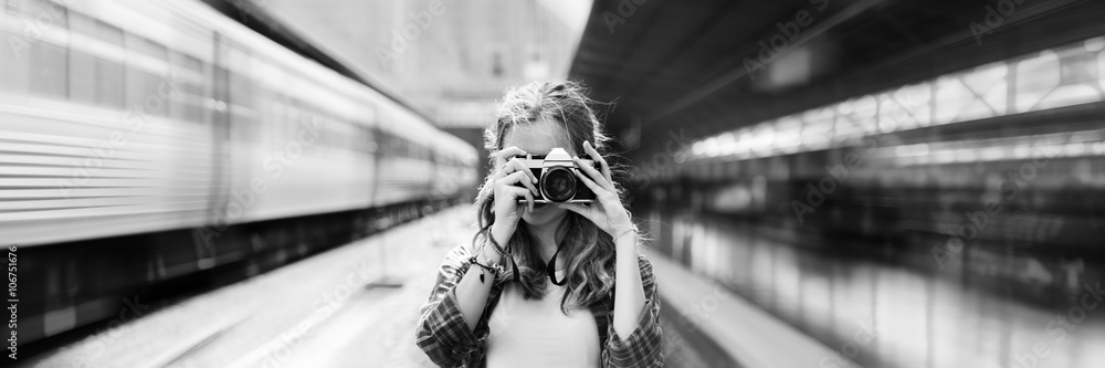 Fototapety, obrazy: Girl Adventure Hangout Traveling Holiday Photography Concept