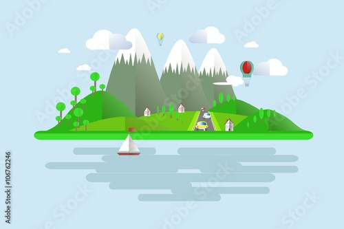 Poster Turquoise Islands, green hills, grey mountains with white peaks, blue skies, water, trees, balloons, boat sails, home, white clouds, road, cars, shade. Modern flat design, background, design element, vector