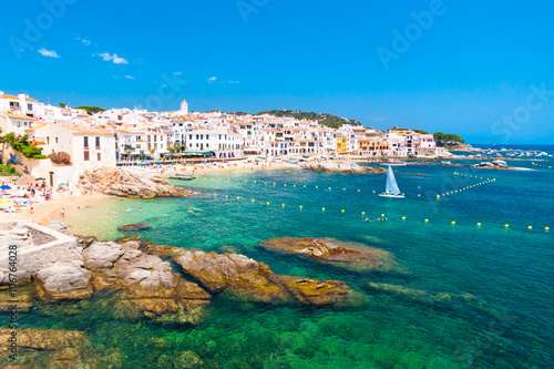 Calella de Palafrugell, traditional whitewashed fisherman village and a popular travel and holiday destination on Costa Brava, Catalonia, Spain.