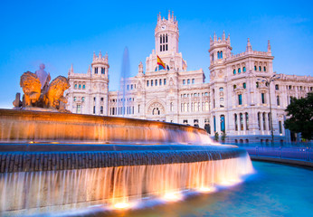 Plaza de la Cibeles, Cybele's Square - Central Post Office, Palacio de Comunicaciones, Madrid, Spain.