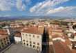 Aerial view of Pistoia Tuscany Italy / Cathedral square (Piazza Duomo) with the town hall. View from the cathedral bell tower. Pistoia, Tuscany, Italy