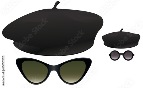 Beret sunglasses Canvas Print