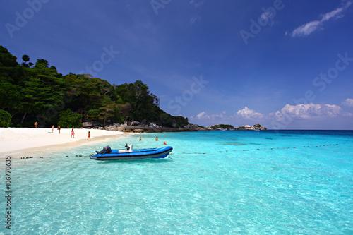 In de dag Groene koraal Tropical beach, Similan Islands, Andaman Sea, Thailand