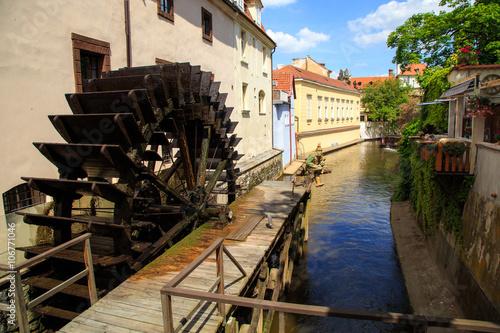 Poster de jardin Moulins historic Water Mill in Prague, Water Mill, czech republic, europ