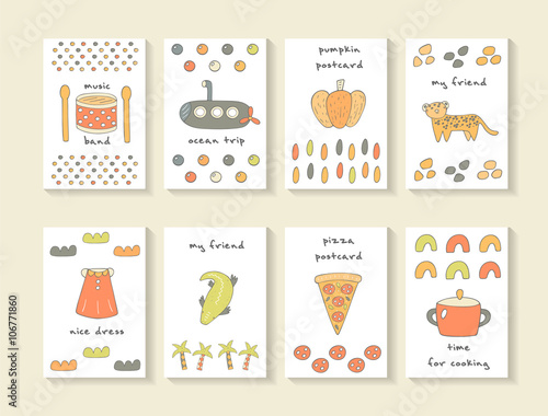 Fototapety, obrazy: Cute hand drawn doodle baby shower cards, brochures, invitations