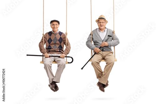 Two old friends sitting on wooden swings