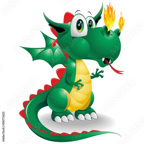 Deurstickers Draw Baby Dragon Cute Cartoon