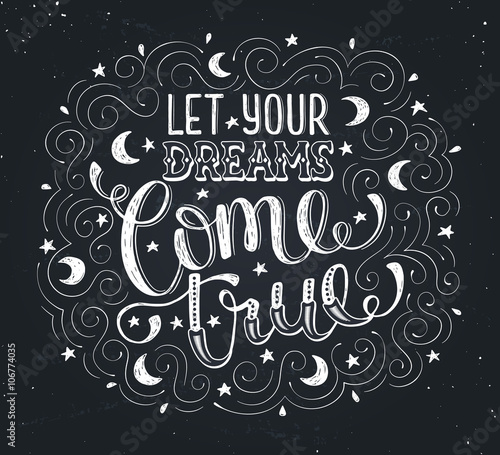 Poster Positive Typography Inspirational print about dreams