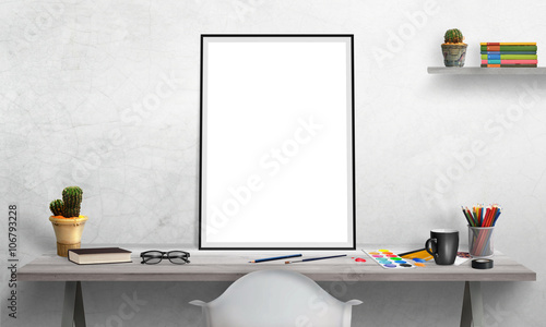 Isolated Poster Frame On Office Desk For Mockup Water Colors Pencils Gl