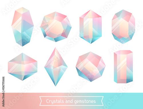 Fotografie, Obraz  Set of geometric crystals gem and minerals