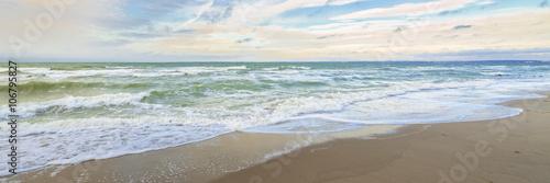 Fotografia, Obraz  Urlaub am Meer - Wellen und Sandstrand an der deutschen Küste - Banner / Panorom