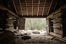 The Simple Life. Interior Of Pioneer Barn  On The Roaring Fork Motor Nature Trail In Great Smoky Mountains. This Is A Historical Building In A National Park. It Is Not A Privately Owned  Property.
